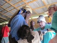 Dr. Suarez examining a child