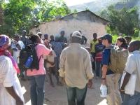 Yvrose teaching village people about cholera