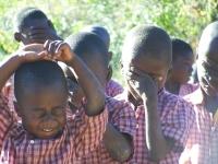 Boys during opening prayers