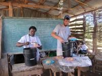 Fegens & Brandon helping serve lunch