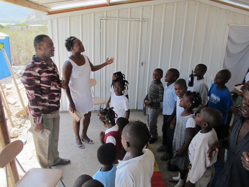 Worship Sunday morning at Yvrose\'s in Haiti.