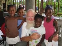 Bill with Yvrose's girls, Bebi, Rosekinsia, Sonita, and Myrland